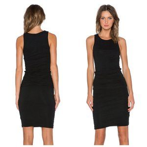 JAMES PERSE USA Black Ruched Cotton Dress